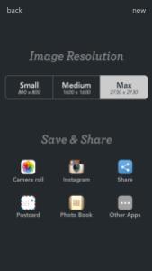 Resolución de la imagen y Salvar y Compartir