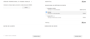 Código promocional, Método de envio, datos de cliente