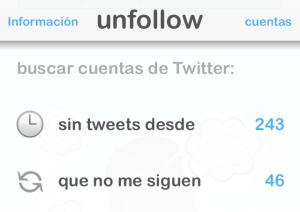 Buscar cuentas de Twitter - Dejar de Seguir